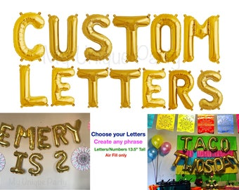 Letter Balloons Custom Letters Numbers Choose Your Phrase Name Create Balloon Banner Birthday Gold Silver Rose