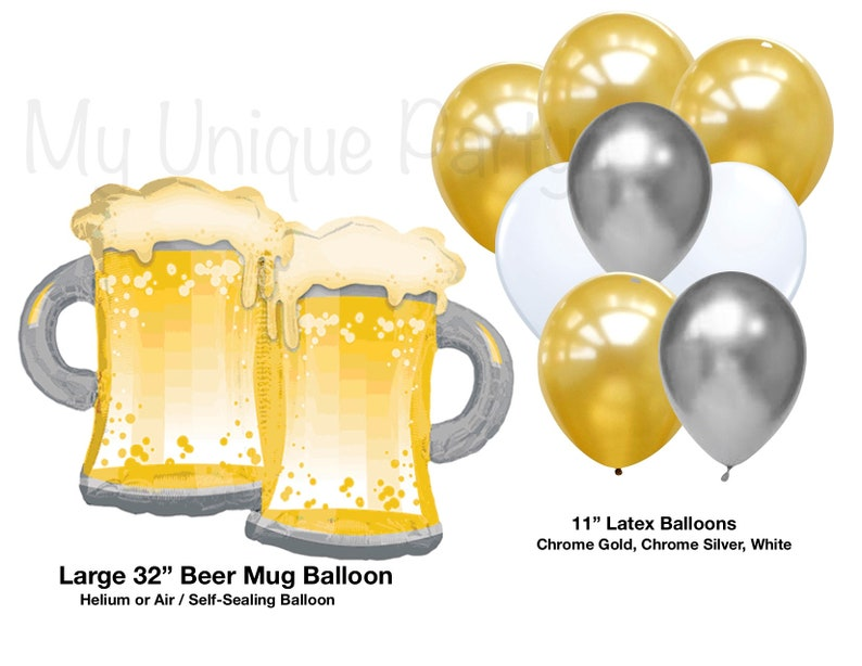 Beer Balloon Large 32 Toasting Mugs Chrome Gold
