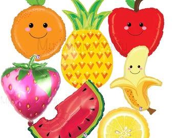 Fruit Balloons Watermelon Balloon Strawberry Balloon Lemon Balloon Pineapple Balloon Orange Apple Banana Large Mylar Balloons Tutti Frutti