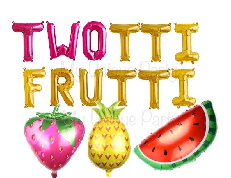 TWOTTI FRUTTI Balloons Fruit Balloons 2nd Birthday Twotti Frutti Banner  Twotti Fruity Party Watermelon Strawberry Pineapple