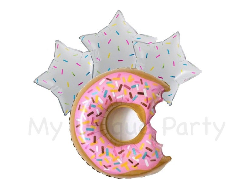 Donut Grow Up Donut Balloons /& Star Sprinkle Balloons One is Sweet Decor First Birthday Donut Party Star Sprinkles Two Sweet