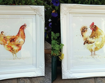Set of 3 Giclee Prints: Chickens & Rooster Series (Watercolour paintings)