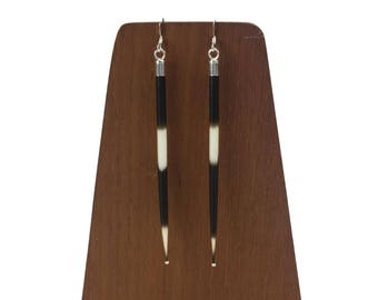 """Sterling Silver 3.5"""" African Porcupine Quill Earrings - J100"""