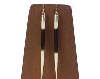 """Sterling Silver 4"""" African Porcupine Quill Earrings - J104"""