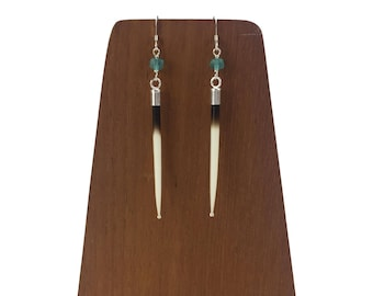"""Sterling Silver 2.75"""" African Porcupine Quill and Apatite Earrings - J107"""