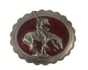Vintage 1980s Siskiyou  Belt Buckle - The End of the Trail - Wounded Knee- Pewter Silver Enamel - Made in Oregon, USA