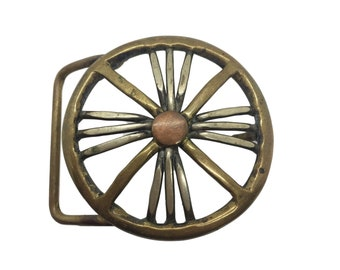 Vintage Modernist Mixed Metal Belt Buckle - FAIRCHILD - Studio Made - Wheel Spoke