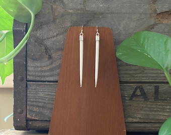 """Sterling Silver 3"""" African Porcupine Quill Earrings - J201"""
