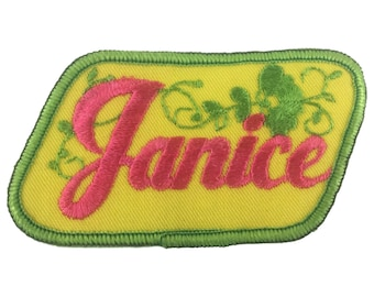 Vintage Name Patch - Janice - NEW OLD STOCK Bright Neon Groovy Retro