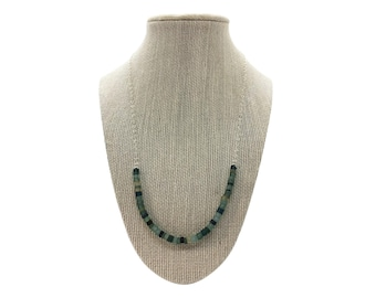 Recycled Glass Beaded Front Necklace - Shades of Blue and Green - Sterling Silver