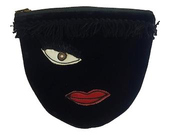 1950s Beau Sac Velvet Zippered Pouch - Winking Eye - Novelty