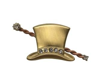 1980s Magician Hat Pin - Rhinestones and Metal