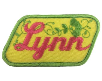 Vintage Name Patch - Lynn - NEW OLD STOCK Bright Neon Groovy Retro