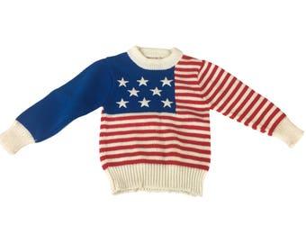 Vintage Popsicle Brand Kids 5 / 6 Sweater USA Flag Stars Stripes