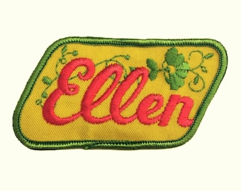 Vintage Name Patch - Ellen - NEW OLD STOCK Bright Neon Groovy Retro
