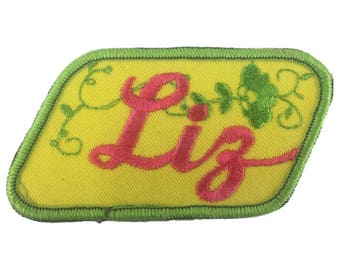 Vintage Name Patch - Liz - NEW OLD STOCK Bright Neon Groovy Retro