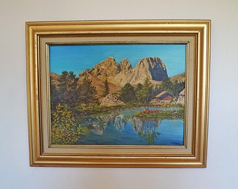 Vintage landscape oil painting of the Rockies - mountains with wood frame