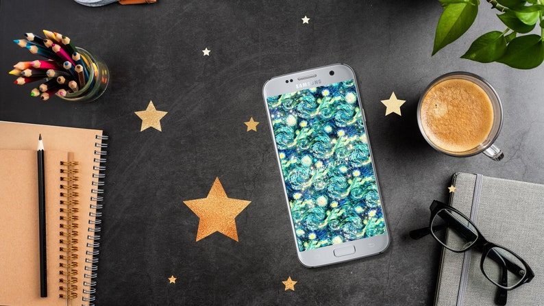 Star Phone Background Whimsical Art Wallpaper Starry Night image 0