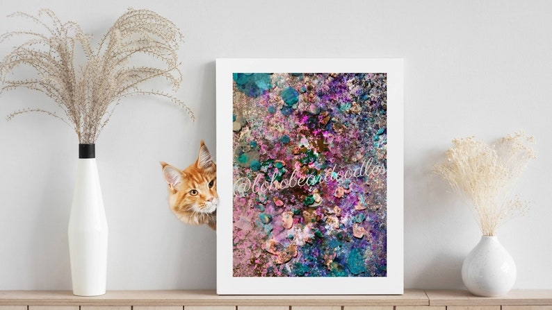 Vibrant Chunky Glitter Digital Abstract Painting by Kristi image 0