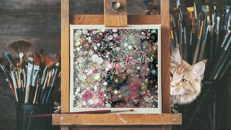 Dark Galaxy Mid Century Starbursts Abstract Painting image 0