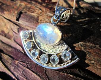 33d227f9533cf3 Lunar Goddess Moonstone & Blue Topaz Necklace - Sterling Silver - Rainbow  Moonstone - Blue Topaz