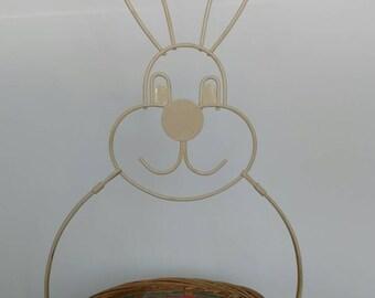 Vintage Easter Basket, metal easter basket, vintage easter bunny