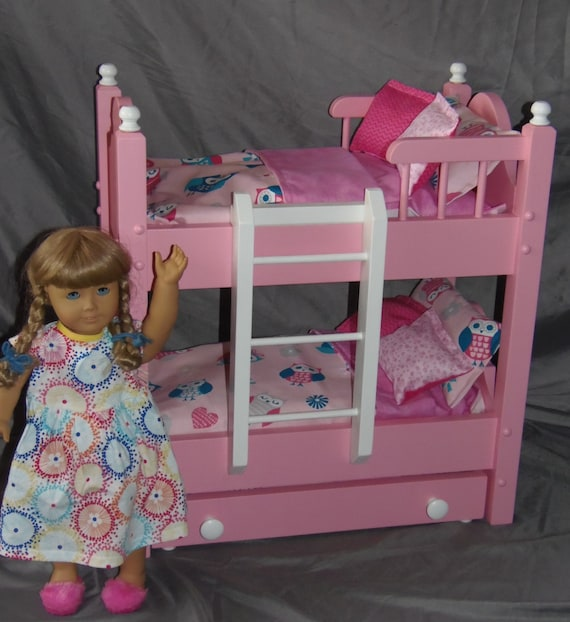 Doll Bunk Bed With Trundle Bed Fits American Girl Doll With 13 Etsy