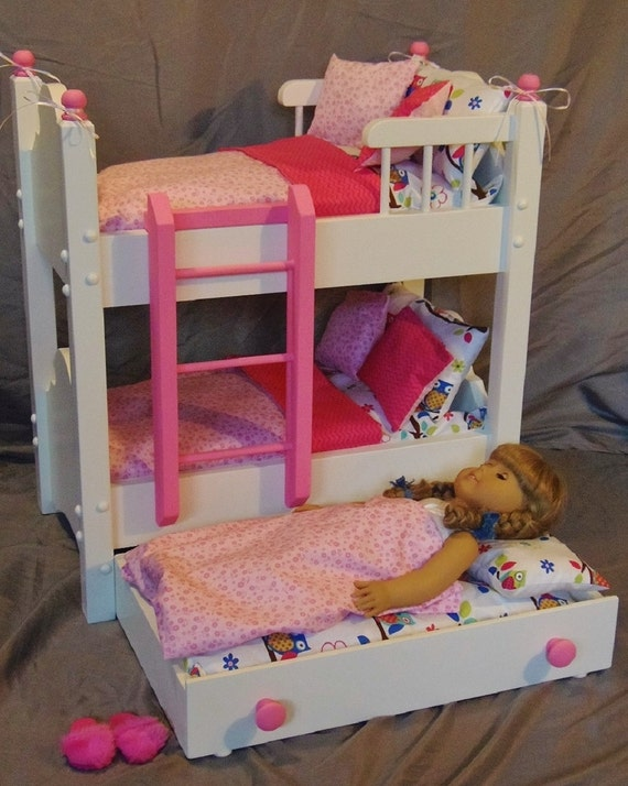 Doll Bunk Bed With Trundle Bed Fits American Girl Doll And 18 Etsy