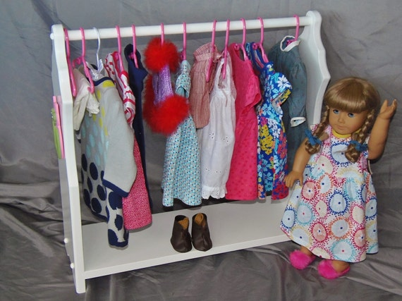 Doll Clothes Organizer perfect for American Girl Doll and 18 dolls with handmade wooden owl appliques