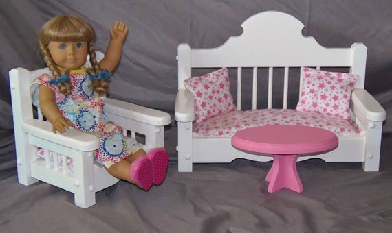 Awesome Doll Sofa Chair And Coffee Table Set Perfect For American Girl Doll And All 18 Inch Dolls Bralicious Painted Fabric Chair Ideas Braliciousco