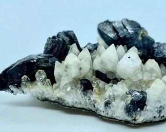 Babingtonite Crystals and Calcite Crystals on the Matrix Prehnite Botryoidal Crystal