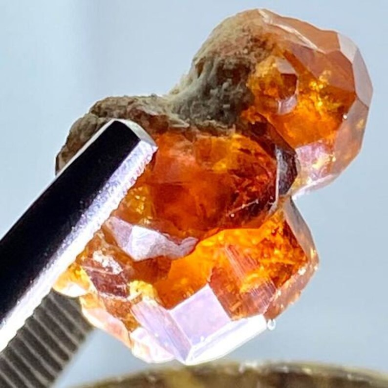 Orange Grossular Garnet Crystal Specimen