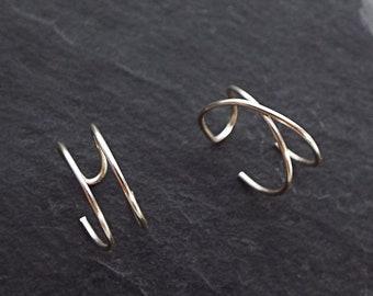 Criss Cross Ear Cuff - Set of 2 Ear Cuffs - Double Ear Cuff - No Piercing - Cartilage  Fake Piercing - Ear Wrap - Conch Earring - Helix Hoop