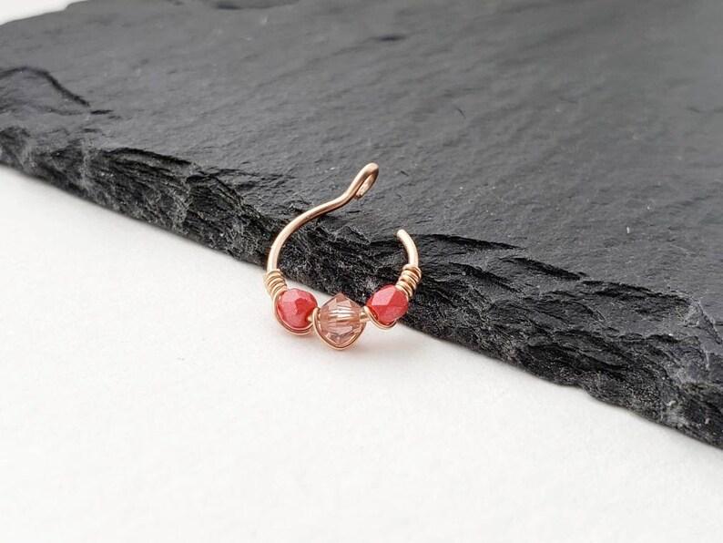 8mm Nose Ring  Rose Gold Fake Nose Ring  Clip On Nose Ring image 0