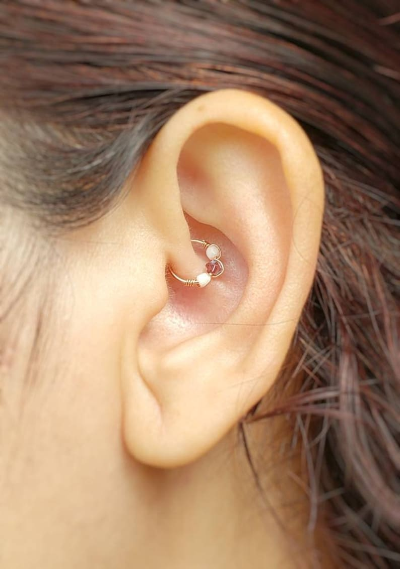 Rose Gold Daith Ring  Faux Daith Earring  Daith Ring  Faux image 0