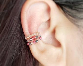 Stackable Ear Cuffs - Gift For Her - Conch Ear Cuff - Hoop Ear Cuff Set