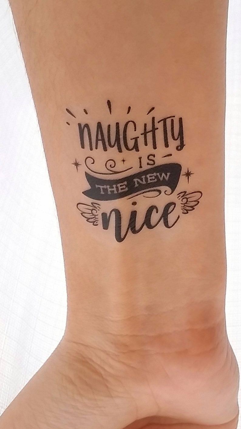 Naughty is the New Nice Temporary Tattoo Christmas removable image 0