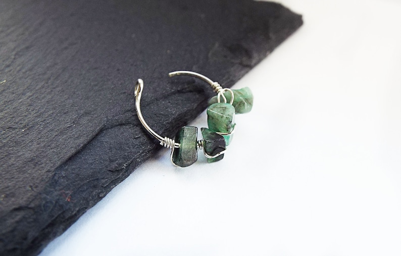 Sterling Silver Ear Cuff Emerald May Birthstone image 0