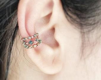 No Piercing Ear Cuff - Gift For Her - Conch Ear Cuff - Hoop Ear Cuff Set