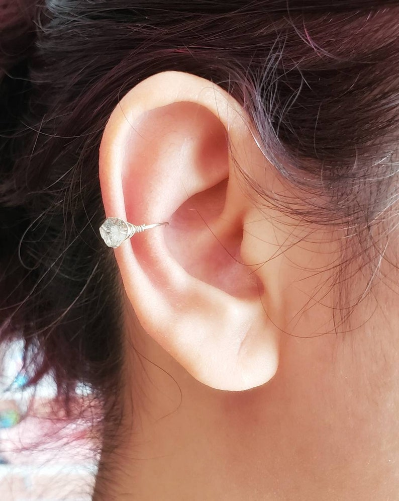 Sterling Silver Herkimer Diamond No Piercing Ear Cuff image 0