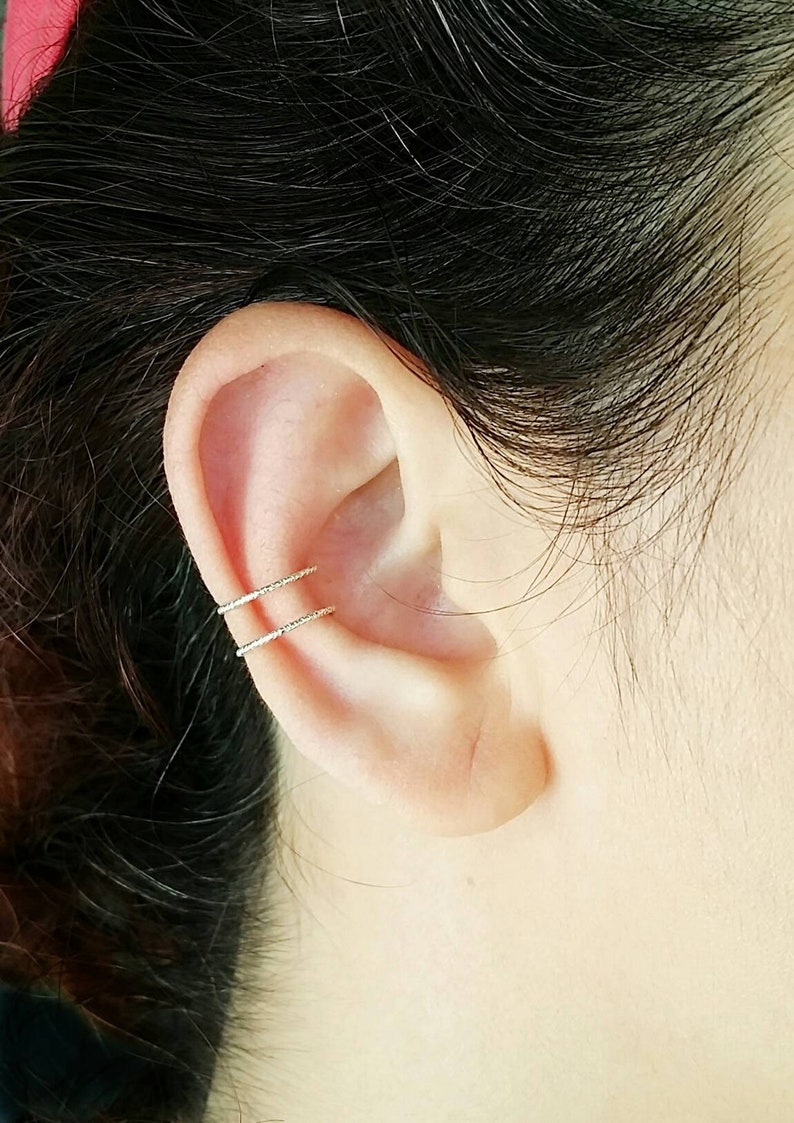 Sterling Silver No Piercing Double Ear Cuff image 0