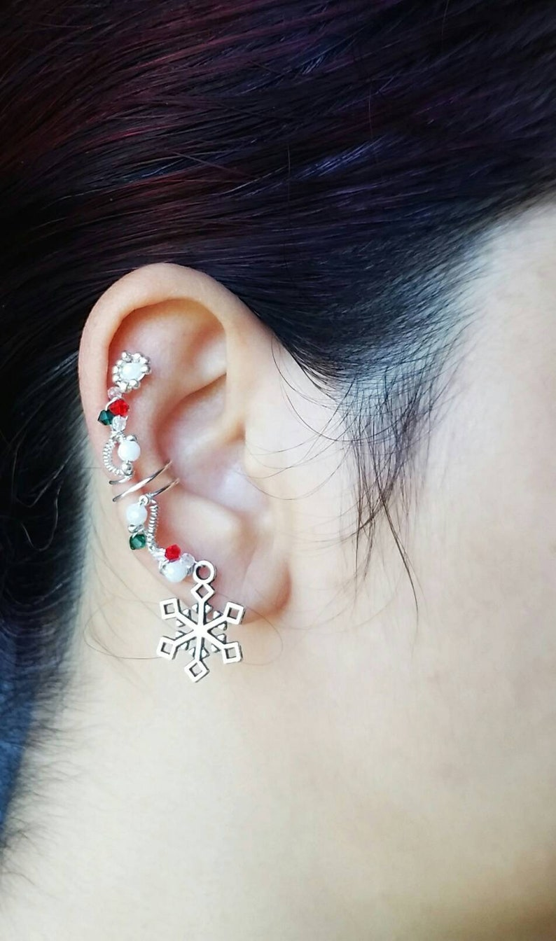 Snowflake Ear Cuff  Christmas Jewelry  No Piercing Conch image 0