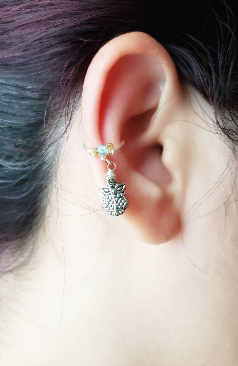 Silver Owl Ear Cuff No Piercing Conch Earring Gift for Owl image 0