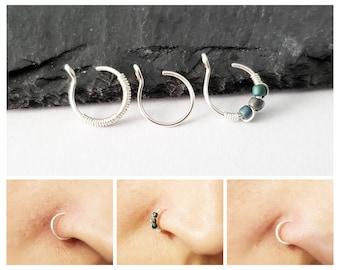Fake Nose Ring Set - Clip On Nose Ring - Faux Piercing - No Piercing Nose Cuff - 8mm Nose Ring