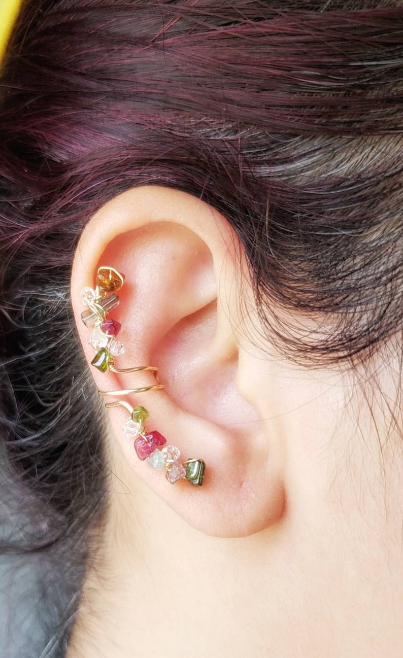 Tourmaline Ear Cuff  Gold Ear Cuff  Faux Piercing Jewelry image 0