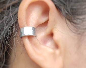 Hammered Ear Cuff, Wide Ear Cuff, No Piercing Jewelry