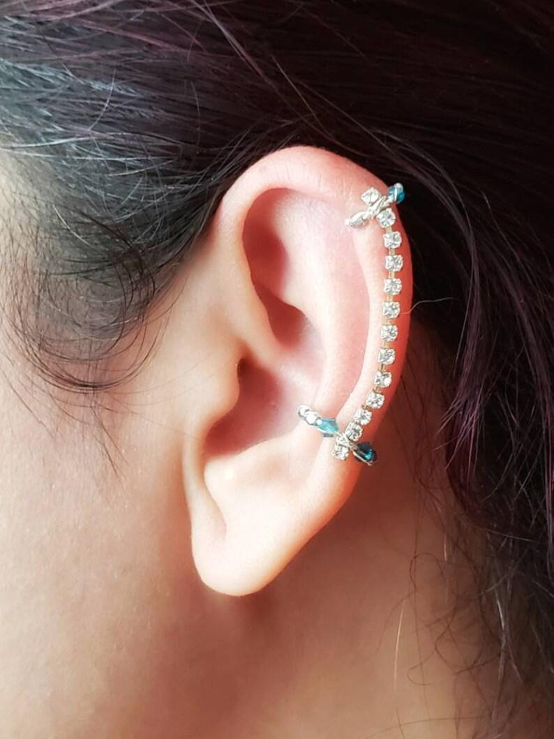 Rhinestone Ear Cuff Helix Conch Ear Cuff No Piercing Jewelry image 0