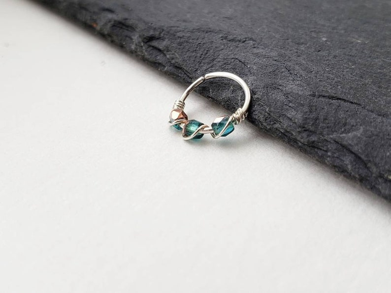 Silver Nose Ring for Real Piercing  Forward Helix Ring  image 0