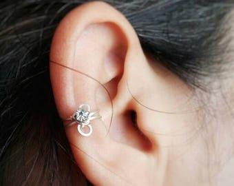 Silver Ear Cuff - Birthstone Jewelry - No Piercing Ear Cuff - Faux Piercing - Fake Piercings - Rhinestone Earring - Ear Cuff Non Pierced