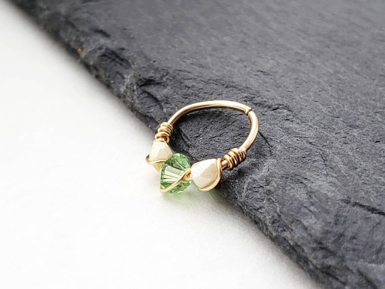 Gold Small Nose Hoop Ring  Forward Helix Earring  Tragus image 0